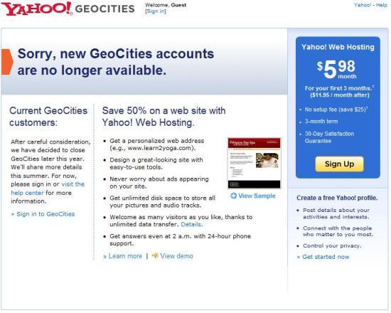 geocities - Yahoo chiude il servizio gratuito di web hosting Geocities