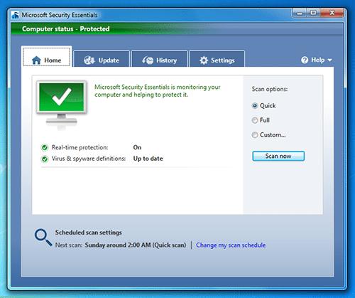 microsoft security essentials 10 computer status - 1.5 milioni di download per Microsoft Security Essentials