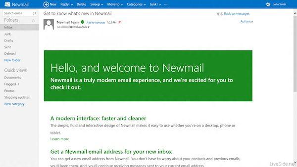 Newmail Message - Hotmail: nuova interfaccia e cambio del nome all'orizzonte?