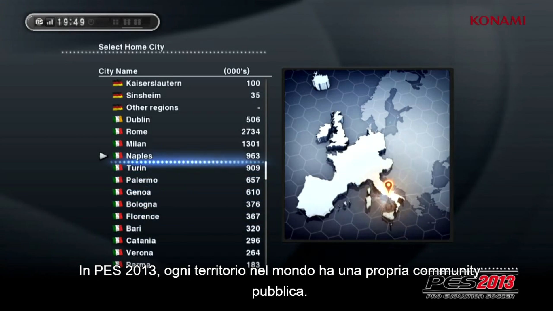 PES 2013 città Italia - PES 2013: nuove modalità, statistiche e social in un video