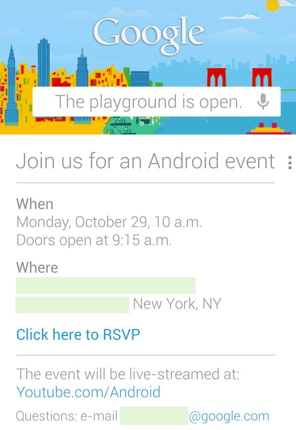 Google nexus event - Evento Google: i nuovi Nexus in arrivo il 29 Ottobre?