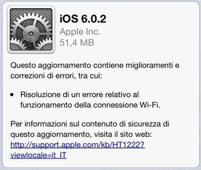 iOS602 - iOS si aggiorna alla versione 6.0.2. Update solo per iPhone 5 e iPad Mini