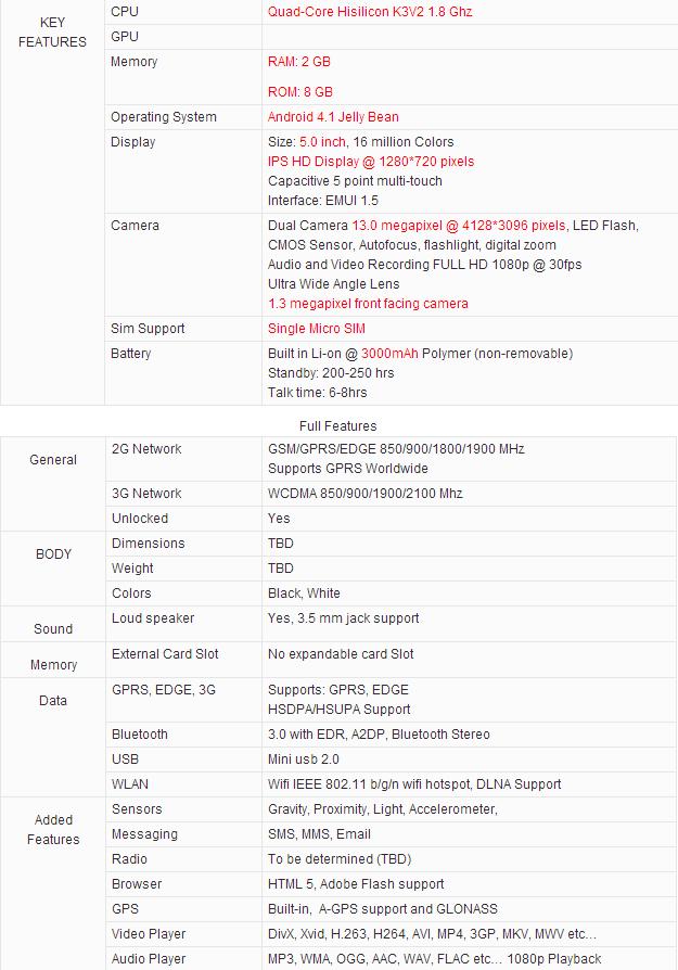 ascend p2 - Huawei Ascend P2: queste le caratteristiche tecniche?