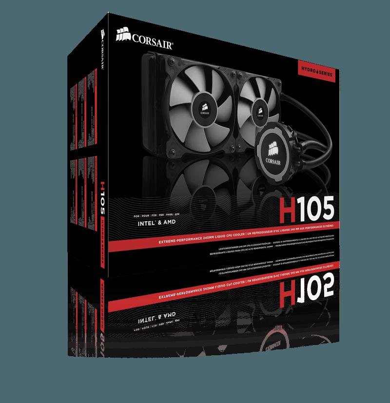 3D BOX H105 - Corsair annuncia il sistema di raffreddamento a liquido per CPU Hydro Series H105